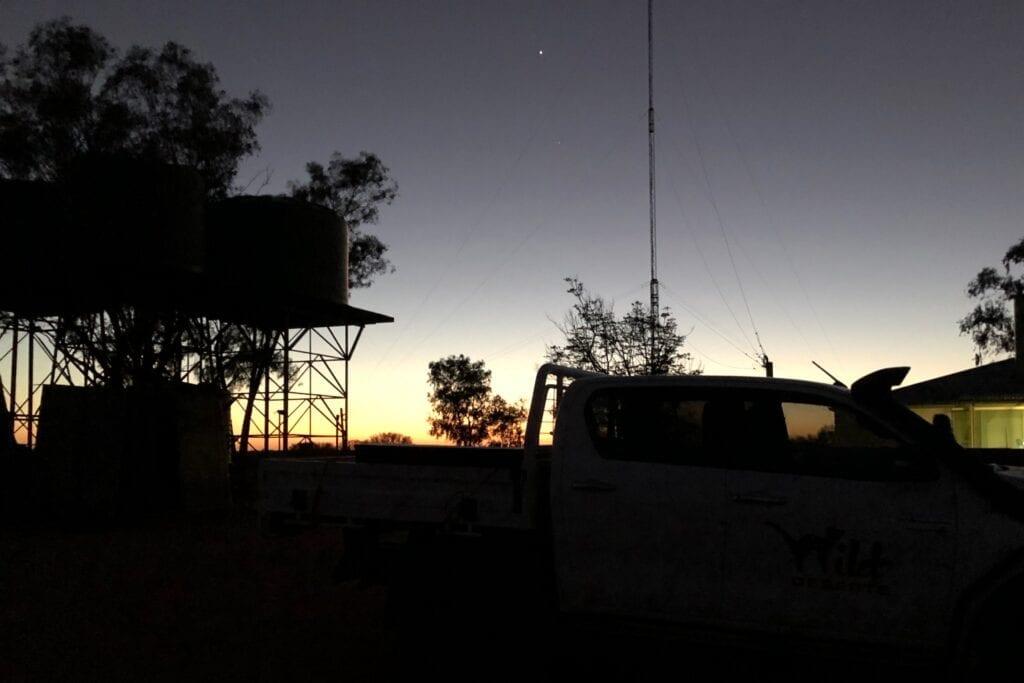 Sunrise at Wild Deserts, Fort Grey. Australian marsupials.