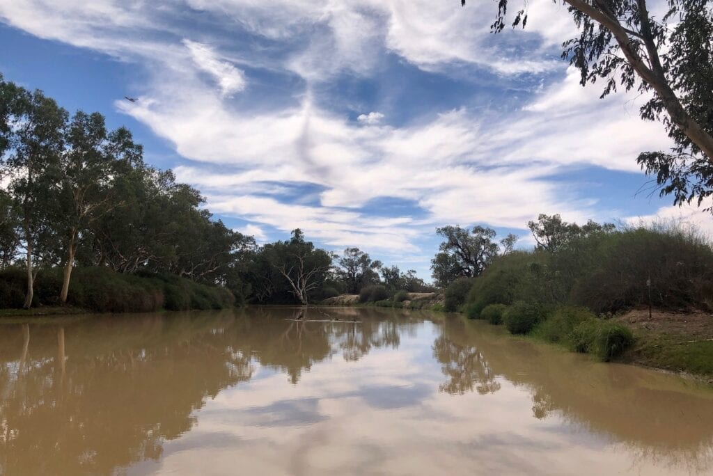 The Cooper Creek in flood, upstream of the causeway at Innamincka, SA.
