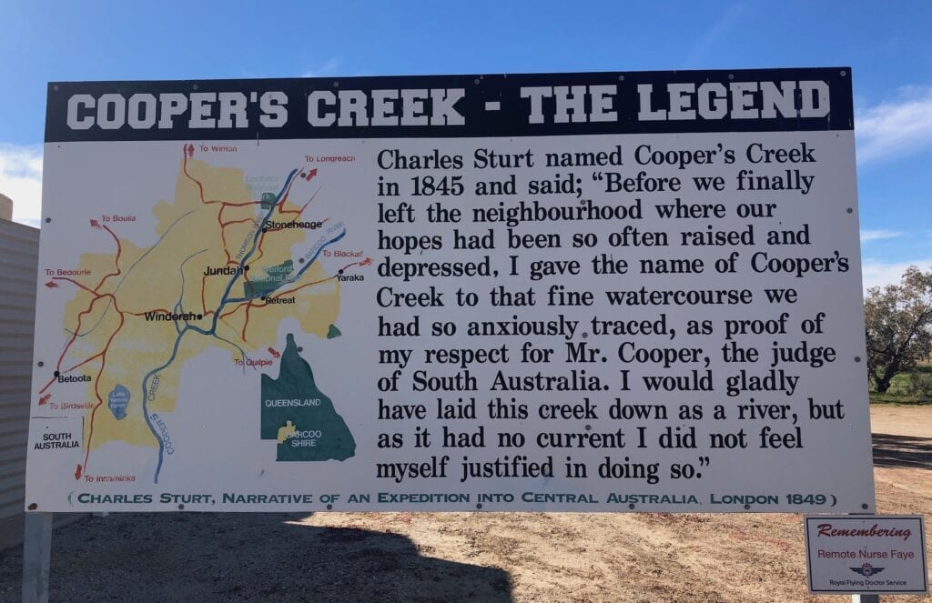 A sign at the crossing near Windorah, explaining why it is called a creek, not a river. Cooper Creek QLD.
