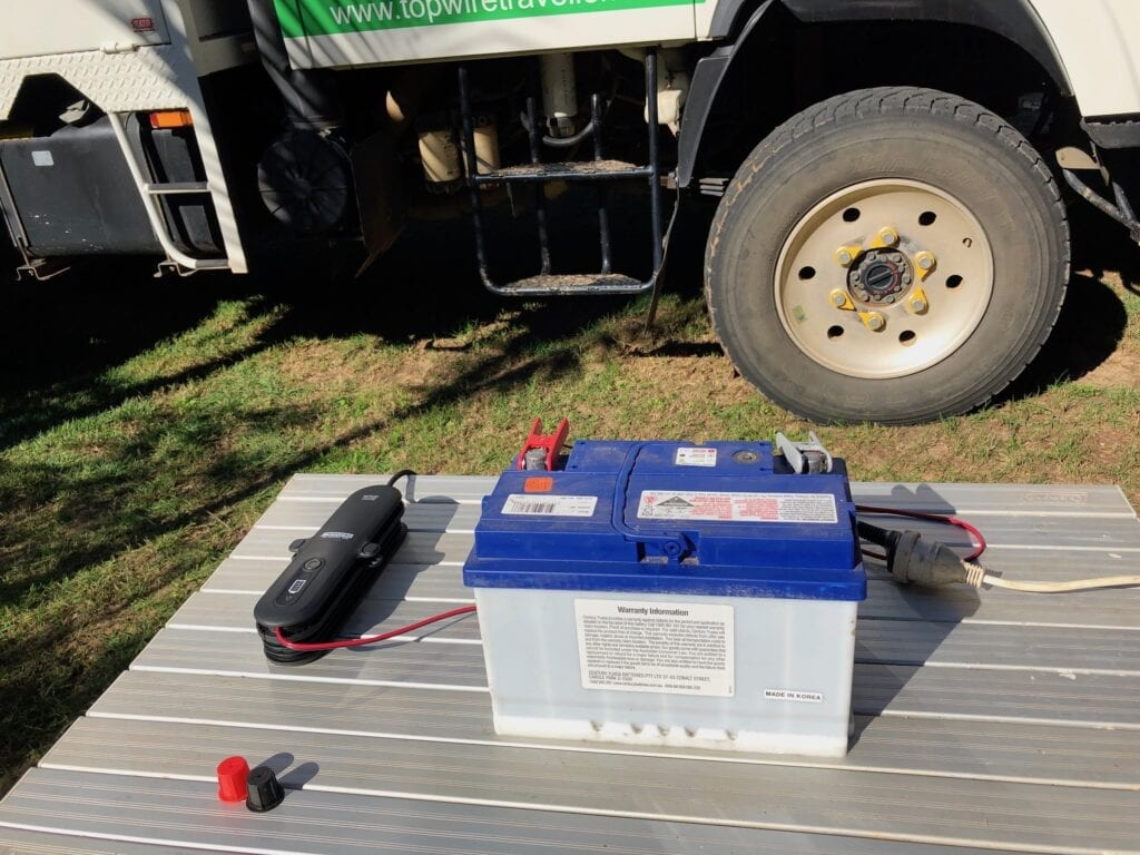 The trial setup we used to test our new REDARC battery charger.