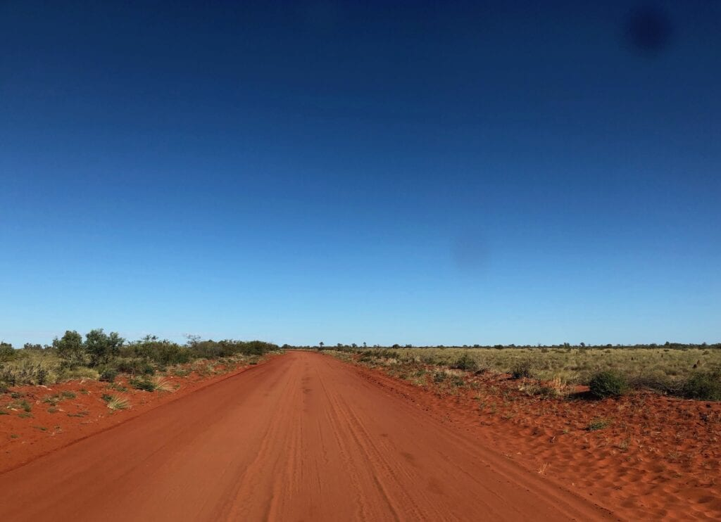 The dark red sands on the NT, along the Sandover Highway.