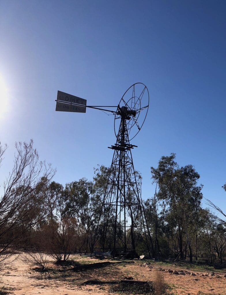 Windmill at Old Fort Grey Homestead. Lake Pinaroo, Sturt National Park NSW.