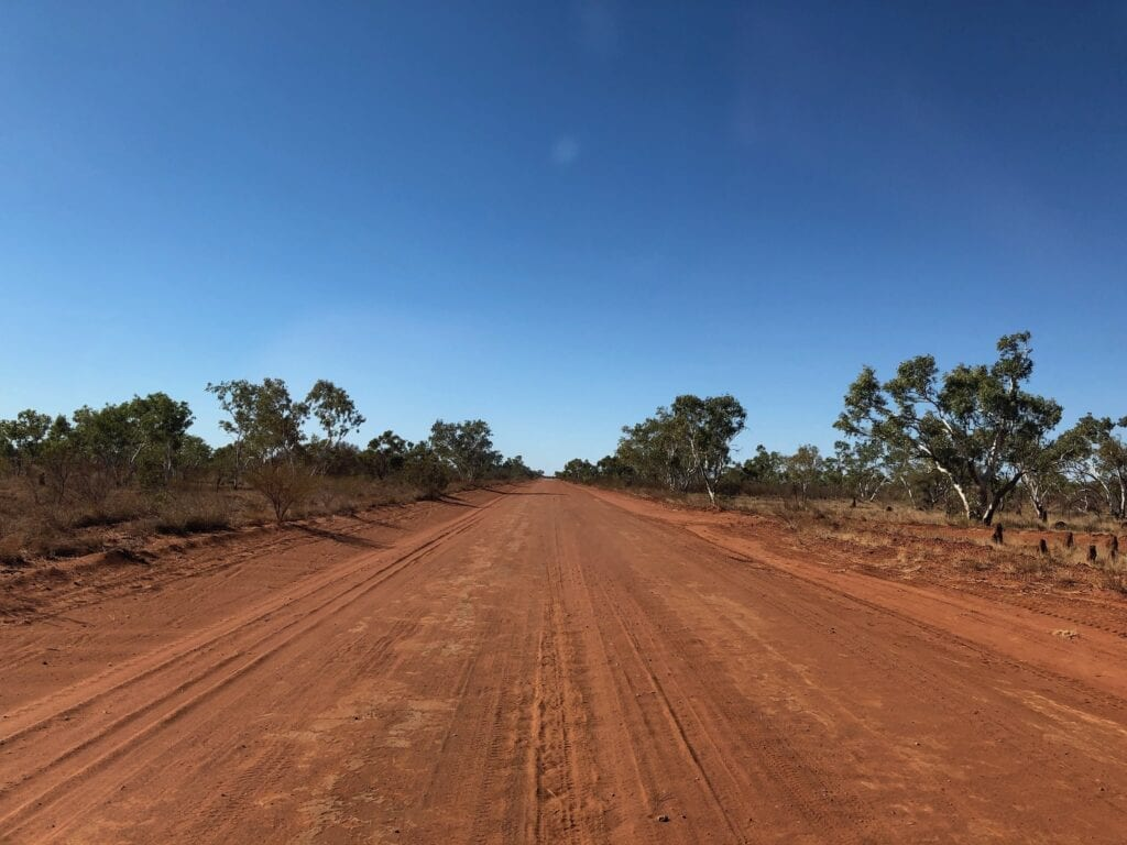 Driving north on Lajamanu Road after leaving the Tanami Road.
