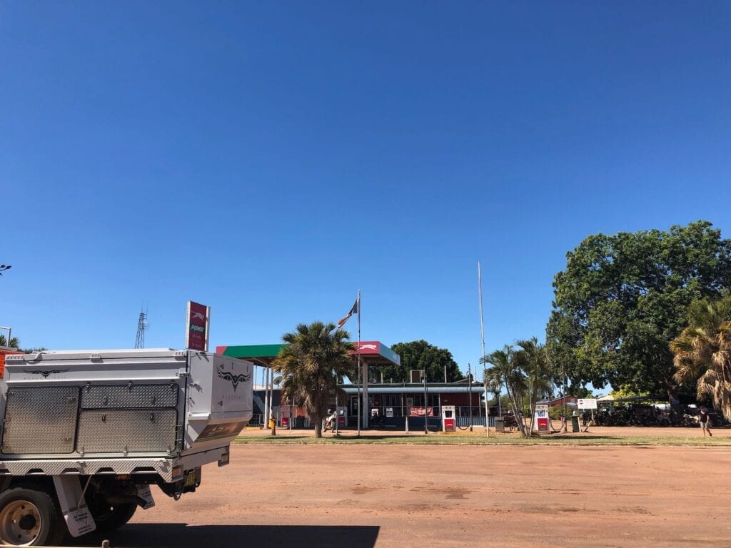 Parked outside the Daly Waters Roadhouse, NT.
