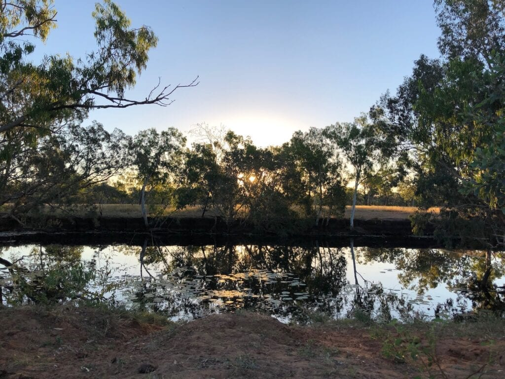 Hann Lagoon at sunset. Just west of Hells Gate QLD on the Savannah Way.