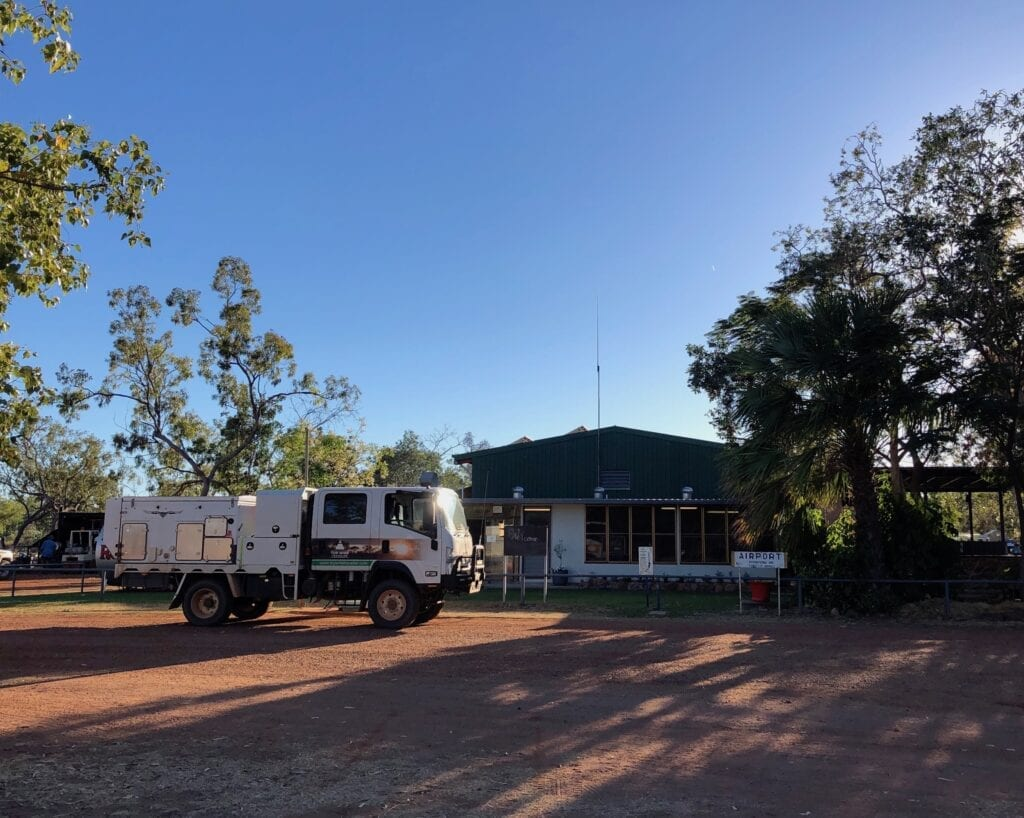 Parked outside Hells Gate Roadhouse, QLD.