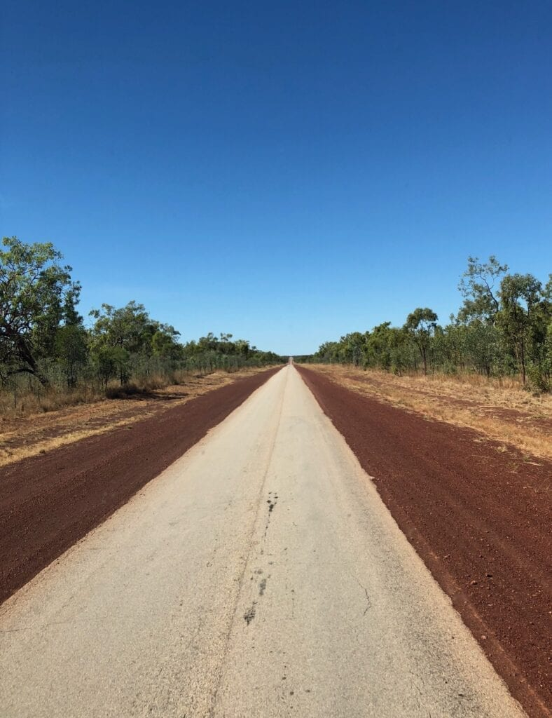 The Crapentaria Highway is a poorly maintained single lane tar road from Daly Waters to Borroloola.